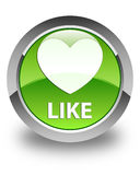Like (heart icon) glossy green round button Stock Images