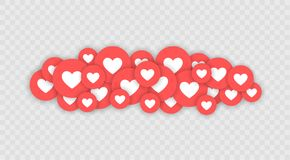 Like and Heart icon. Live stream video, chat, likes. Social nets blue thumb up like and red heart web buttons isolated. On white background. Vector stock illustration