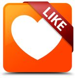 Like (heart icon) orange square button red ribbon in corner Royalty Free Stock Photos