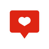 Like heart icon on a red pin  on white background. Like symbol. Like icon on a white background. SImple like symbol Royalty Free Stock Images