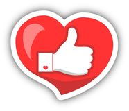 Like, Heart Icon With Shadow. Vector illustration. Royalty Free Stock Photo