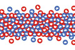 Like and heart icons background. Thumbs up and red heart buttons stream, concept of social network, Internet following. Vector. Like and heart icons background royalty free illustration