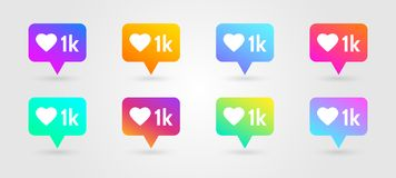 Like and heart icons set. Social network symbol. Icon like 1000. Counter notification icons. Social media elements. Message bubble. In bright gradients. Emoji stock illustration