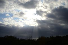 Like heaven. Sunrays through the clouds Royalty Free Stock Photos