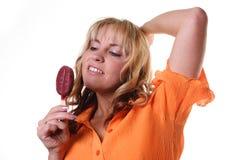 Like ice. Woman likes eat an icecream Stock Photography