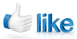Like icon. 3d  of like icon thumbs up Stock Photography