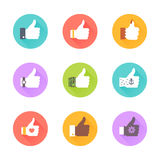 Like icon set. Hand in different styles. Vector flat icon set and illustration Stock Photos