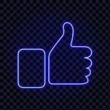Like icon - thumb up neon isolated on transparancy background. vector illustration