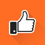 Like icon vector illustration in flat style isolated on orange b. Ackground with long shadow. Thumb up symbol for web site design, logo, app, ui Royalty Free Stock Images