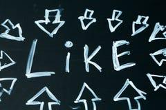 Like an inscription and  arrow drawn in chalk on a  school blackboard dark Stock Image