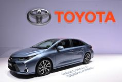 89th Geneva International Motor Show - Toytota Corolla Sedan Hybrid. Like its many best-selling forbearers, the 2019 Toyota Corolla Opens a New Window. sedan is stock photos