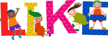Like Kids Title Text. Happy cartoon smiling children climbing over letters of the alphabet that spell out the word LIKE royalty free illustration