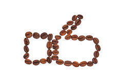 The Like laid out from coffee beans. Isolated on white background Royalty Free Stock Images