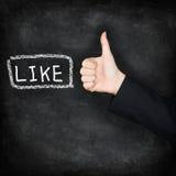 Like - likes thumbs up on chalkboard Royalty Free Stock Photo