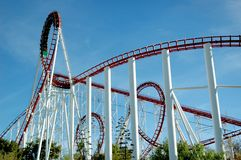 Like Loops?. Multiple vertical loop roller coaster Viper in Southern California Stock Image