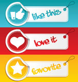 Like, Love and Favorite Tags. Set of like, love and favorite tags vector illustration