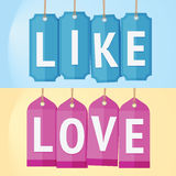 Like and Love Label Stock Photo
