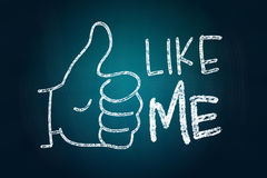Like Me. With Thumb Up, Social Media Concept drawn with Chalk on Blackboard Stock Photo