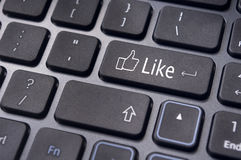 Like message on keyboard button, social media concepts Stock Images