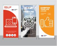 Like, bank safe, internet roll up. Like modern business roll up banner design template, bank safe creative poster stand or brochure concept, internet cover Stock Photography