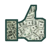 Like of money. Facebook thumbs up with money