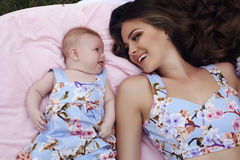 Like mother like daughter. beautiful family in similar dresses Royalty Free Stock Image