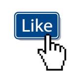 Like.mouse-Cursor, der wie Knopf drückt Stockbilder