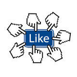 Like.mouse cursor pressing like button Royalty Free Stock Photo