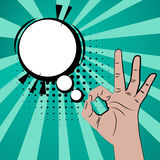 Like positive hand sign blue pop art background Stock Photography