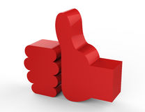 Like red 3D. Red thumbs up symbol on white background with highlights Royalty Free Stock Images
