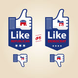 Like republican or democrat for presidential elect. Republican and democrat icons social networks like and unlike illustration thumb up and down Royalty Free Stock Photos