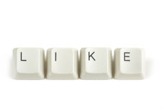 Like from scattered keyboard keys on white. Like text from scattered keyboard keys isolated on white background royalty free stock image