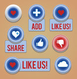 Like and share button vector illustration