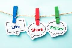 Like share follow Stock Photo