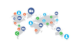 Like share man woman element on world map, network concept Royalty Free Stock Photo