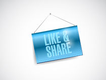 Like and share sign hanging banner illustration Stock Images