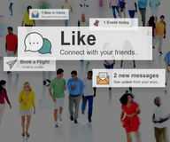 Like Share Social Media News Feed Concept. People Making Like Share Social Media News Feed Stock Photo