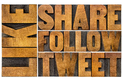 Like, share, tweet, follow letterpress word abstract Royalty Free Stock Image