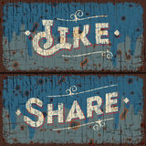 Like, share words - social media concept. Text on vintage sign, vector Eps10 image Stock Photography