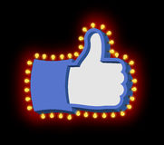 Like sign with glowing lights. Thumb up symbol of retro plate Ha Stock Photos