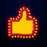 Like sign with glowing lights. Thumb up symbol of retro plate Ha. Nd with light bulb. Vintage direction pointer. Glittering lights gesture of approval Royalty Free Stock Photography