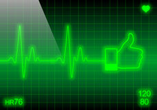 Like sign on green heart rate monitor Stock Image