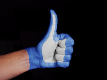 Like Sign. Human hand painted in the colors of popular Like Sign stock photography