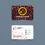 Like sign icon. Hand finger up symbol. Business card template with confetti pieces. Like sign icon. Thumb up sign. Hand finger up symbol. Phone, web and Stock Image