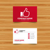 Like sign icon. Hand finger up symbol. Business card template. Like sign icon. Thumb up sign. Hand finger up symbol. Phone, globe and pointer icons. Visiting Royalty Free Stock Photo