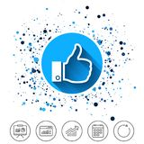 Like sign icon. Hand finger up symbol. Button on circles background. Like sign icon. Thumb up sign. Hand finger up symbol. Calendar line icon. And more line Royalty Free Stock Photos
