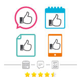 Like sign icon. Hand finger up symbol. Like sign icon. Thumb up sign. Hand finger up symbol. Calendar, chat speech bubble and report linear icons. Star vote Royalty Free Stock Photography