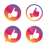 Like sign icon. Hand finger up symbol. Like sign icon. Thumb up sign. Hand finger up symbol. Gradient buttons with flat icon. Speech bubble sign. Vector Stock Photos