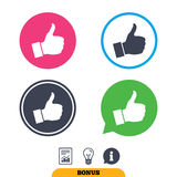 Like sign icon. Hand finger up symbol. Like sign icon. Thumb up sign. Hand finger up symbol. Report document, information sign and light bulb icons. Vector Stock Photo