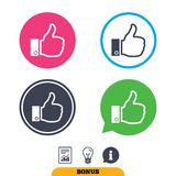 Like sign icon. Hand finger up symbol. Like sign icon. Thumb up sign. Hand finger up symbol. Report document, information sign and light bulb icons. Vector Stock Images
